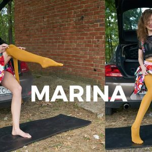 Mustard Tights for Long Legs and Volkswagen Bug - Marina's Session 2020-11(1) - Art Nylon Magazine